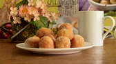 baked : Cheese donuts on the table Stock Footage