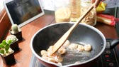 4K. female hand put the shrimp in a pan and stir, prepare ingredients for cooking follow. cooking content lifestyle concept