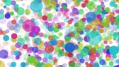 essentiel : Colorful large and small circles climb up on white background