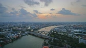 chao phraya : Timelapse Memorial Bridge, Phra Phuttha Yodfa Bridge, Phra Pok Klao Bridge at sunset with Chao Phraya River Bangkok Thailand