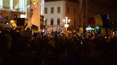 Клаус : Demonstrations in Timisoara Romania people fighting against corruption Стоковые видеозаписи