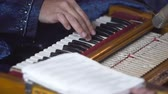 habitação : Indian traditional music in colorful costumes. man playing piano on stage