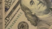 debts : Dollar banknotes. Close up. George Washingtons portrait on banknotes in hundred dollars. Recounting of dollar banknotes. Stock Footage