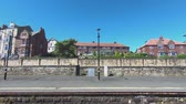 Whitby Station.  A train arrives in Whitby station, a seaside town in northern England (hd, 25fps). Filmati Stock