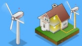 diagram : animation of a Isometric house with wind turbine in production of energy from the wind Stock Footage