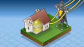 дом : Detailed animation of a Isometric house powered by electrical tower Стоковые видеозаписи