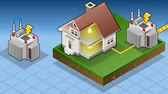 дом : animation of a Isometric house powered by electrical transformer