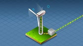 energia : animation of a isometric production and transport of energy through wind turbine Vídeos