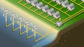 diagram : Detailed animation of a Isometric houses with offshore wind turbines in production of energy