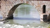italy : Ponte Pietra bridge, Ancient Roman Bridge in Verona, Italy Stock Footage