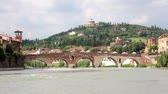 pomost : Ponte Pietra bridge, Ancient Roman Bridge in Verona, Italy Wideo