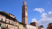 turizm : Piazza Erbe and Lamberti Tower in the Historical Center of Verona, Italy