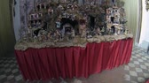 novembro : NAPLES, ITALY - CIRCA NOVEMBER 2013: Nativity Scene in Santi Apostoli Church Stock Footage