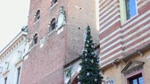 VERONA ITALY - CIRCA DECEMBER 2013: Piazza dei Signori with Christmas Tree