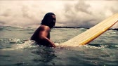 radical : Contrast vintage colors surfer short sequence. Stock Footage