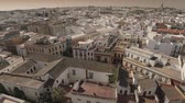 telha : Aerial zoom out of Spanish old town. Seville, Spain. HD