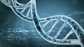 research : Rotating DNA with formula background. Genetic engineering scientific concept