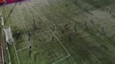 бросать : Aerial football match play. Aerial shot Two teams playing ball in football outdoors, top view. Football game outdoors, green field with markings, players running around with a ball. GOAL Стоковые видеозаписи