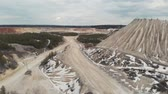 burr : The road in the quarry. Aerial view 4K
