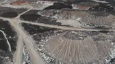burr : Aerial view of the mining quarry. Dunes of mining quarries. Aerial view 4K