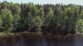 topic : A young man stands on the shore of a forest lake. The camera moves up and away from the young man standing on the shore of a forest lake. 4K Stock Footage