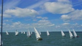 Sailing. Children on the yacht. The Teens on yachts. Children compete on yachts. 4k