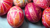 group of objects : beautiful ukrainian traditional handmade Easter egg Pysanka