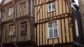 brittany : front view of french colombage houses Stock Footage