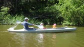 canoe : Father and two children kayaking