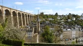 brittany : view of the old city and viaduct in the village of Morlaix, Brittany, France