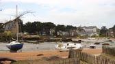 brittany : Yachts and boats during ocean low tide Stock Footage