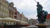 renesans : Fountain with statue in old town square of Poznan at Poland