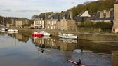 brittany : DINAN, FRANCE - APRIL 06, 2018: view of the port of Dinan, River Rance, Brittany, France Stock Footage