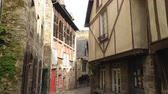 normandia : DINAN, FRANCE - APRIL 06, 2018: view of empty beautiful street with old traditional houses at the center of Dinan, Brittany, France