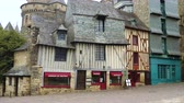 brittany : VITRE, FRANCE - APRIL 07, 2018: streets of breton town Vitre with the french colombage houses