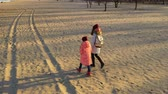 gezinmek : mother with daughter walking by the winter beach Stok Video