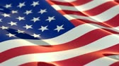 field : Shiny, glossy flag of the USA slowly waving in the wind, shallow depth of field - seamless loop Stock Footage
