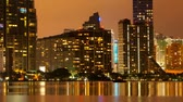 downtown : Time lapse pan of the Miami skyline at dusk Stock Footage