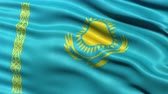 Казахстан : Realistic Ultra-HD flag of Kazakhstan waving in the wind. Seamless loop with highly detailed fabric texture. Loop ready in 4K resolution. Стоковые видеозаписи