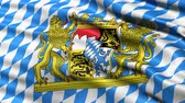 brasão : Seamless loop of Bavaria state flag in Germany waving in the wind. Realistic loop with highly detailed fabric.