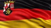 brasão : Seamless loop of Rhineland Palatinate state flag in Germany waving in the wind. Realistic loop with highly detailed fabric. Stock Footage
