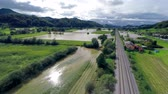 flooded road : Aerial flooding with sun shining