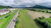 flooded road : Flooding fields in water aerial shot Stock Footage