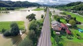 flooded road : Flood in Slovenia Aerial flight over Stock Footage