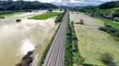 flooded road : Disaster flooding of farmlands and houses aerial shot