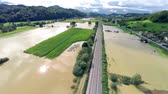 flooded road : Flooding of whole valley in Slovenia aerial view