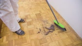 клещи : Sweeping dusty floor high angle. Person cleaning home with sweeper. A lot of dust piled up.
