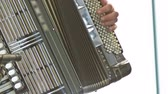 accordionist : Playing on accordion close up. Person playing music on accordion pushing buttons and filling meh.