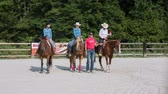 Cowgirls wining western reining competition wide shot. Three riders received rosette for wining SIRHA competition in Slovenia. Wideo