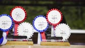 домик : Reining horse competition rosettes close up 4K. Rosette prizes waiting for winner of western reining national competition in SIRHA. Стоковые видеозаписи